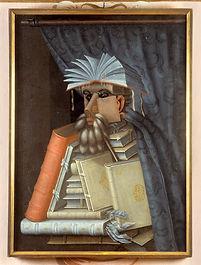 Porträtt._Karikatyr._Bibliotekarien._Gu