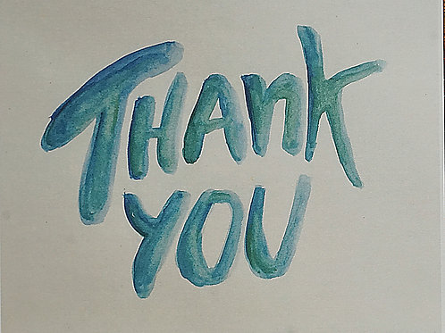Thank You Blue Letters Greeting Card