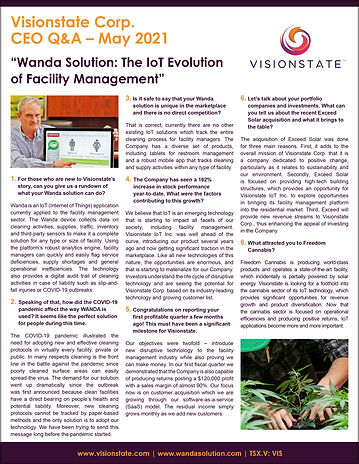 Visionstate Corp. CEO Q&A – May 2021-1.j