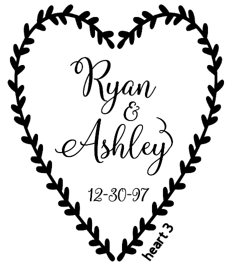 Heart Wreath Font 2 - 9 wreath style choices ($20 deposit, $15 due)