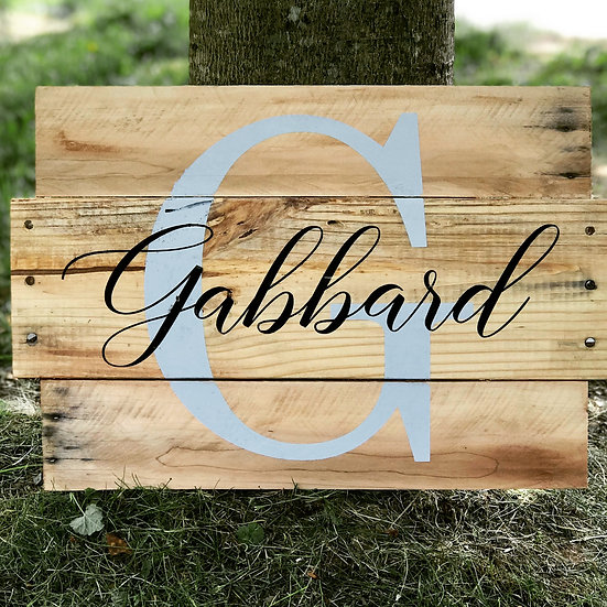 FUNDRAISER Initial Name Upcycled Pallet ($55)