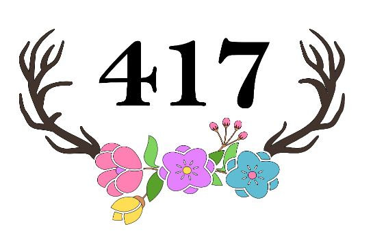 Address Antlers with Flowers Plank