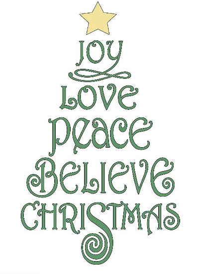 Joy Love Peace Believe Christmas ($35)
