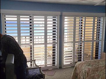 Bypass shutters on sliding glass door