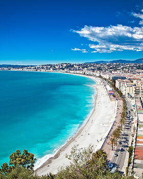 Panoramic view of Nice coastline and bea