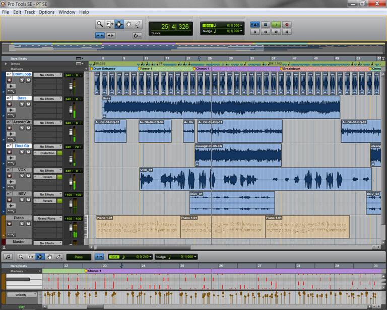photo de pistes  audio du logiciel pro tools