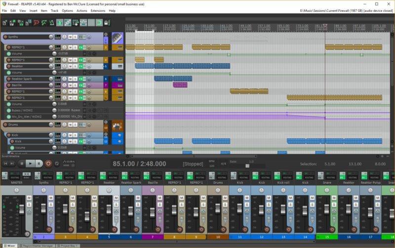photo de pistes audio du logiciel reaper