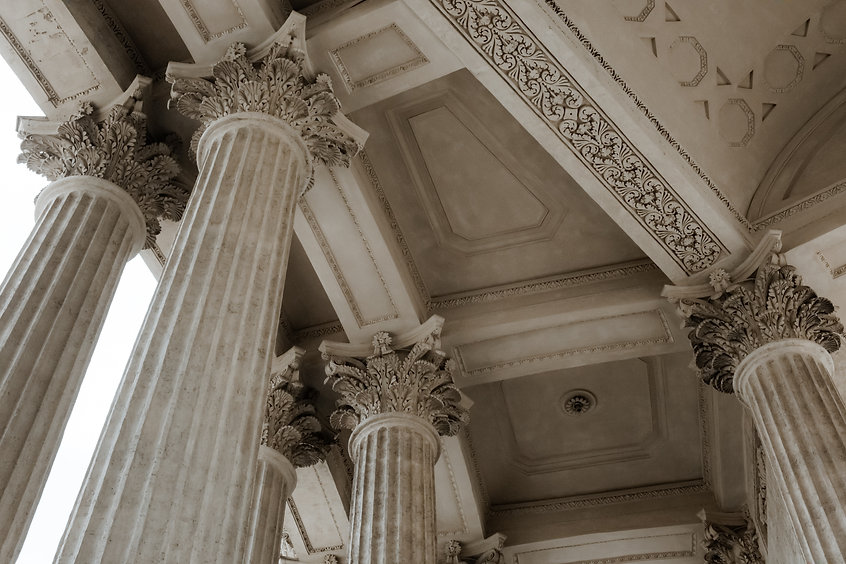 Image of columns of building for JP Law Group, Family and Immigration Attorneys, Coral Gables, Miami-Dade County, FL.