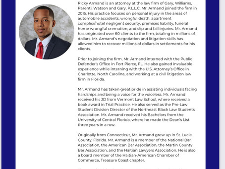 Congratulations to HACCOF-TC Board member for his the National Bar Association top 40 under 40