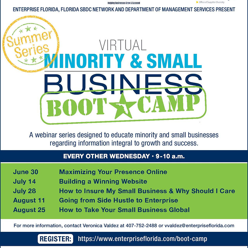 Minority & Small Business Boot Camp: Going from Side Hustle to Enterprise