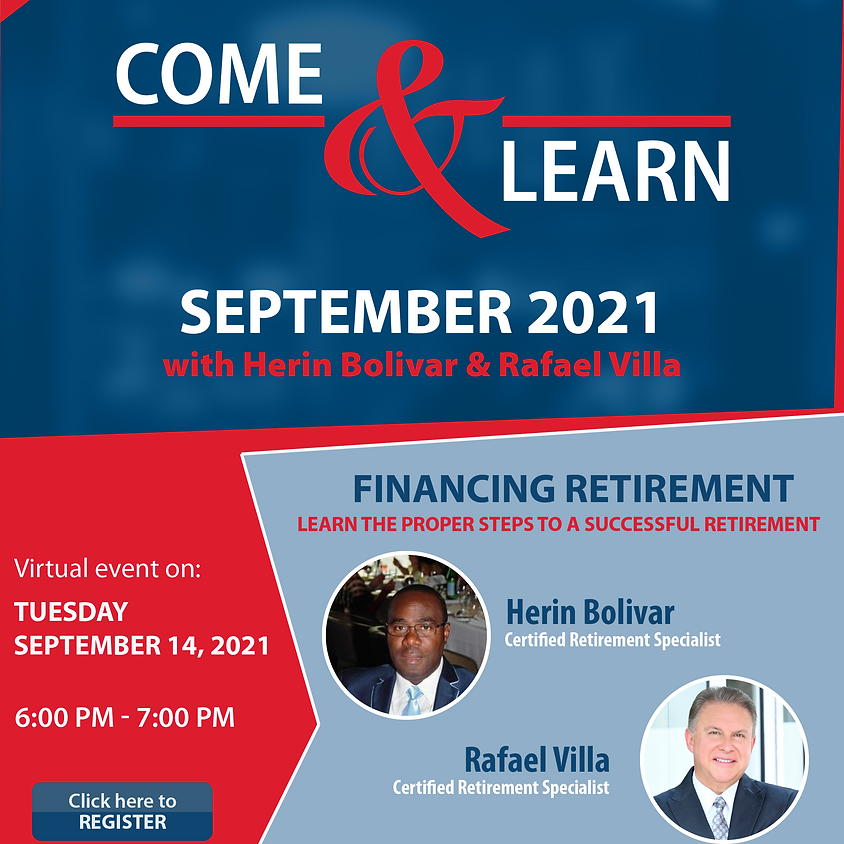 Come and Learn Webinar - September 2021