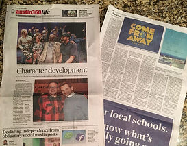 "Photo of Austin newspaper with story titled ""Character Development"""