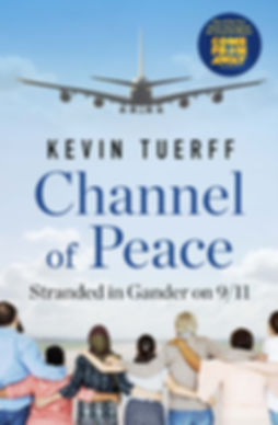front cover of book wit image of large airplane landing and a mult-cultural group standing arm-in-in arm facing away to the plane
