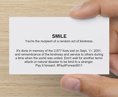 business card reading Smile. You're recipient of random act of kindness