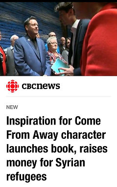 Screen grab from CBC News with author Kevin Tuerff and Canadian Prime Minister Justin Trudeau