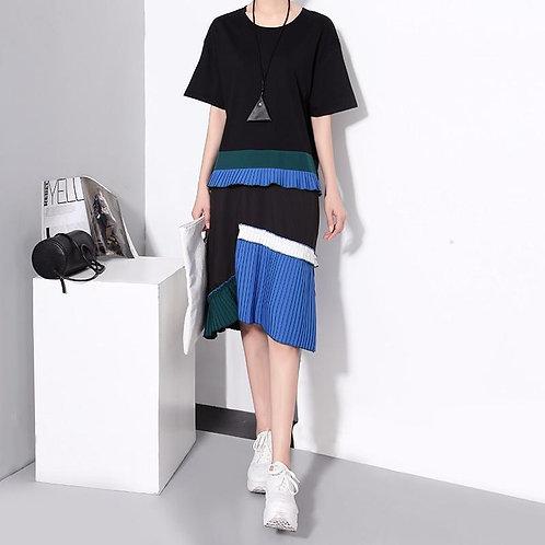 Emon Color Block Pleated Dress - Black
