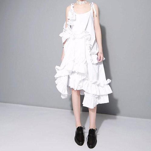 Alvarez Asymmetrical Ruffle Dress - White