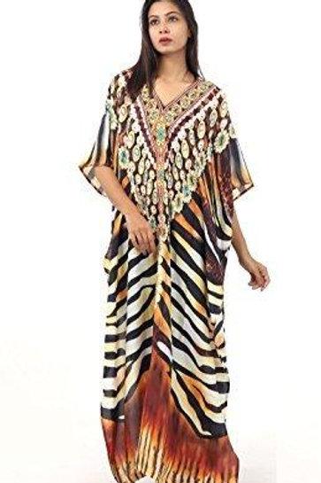 Elegantly Decorated Zebra Striped Maxi Kaftan Embroidered Beads