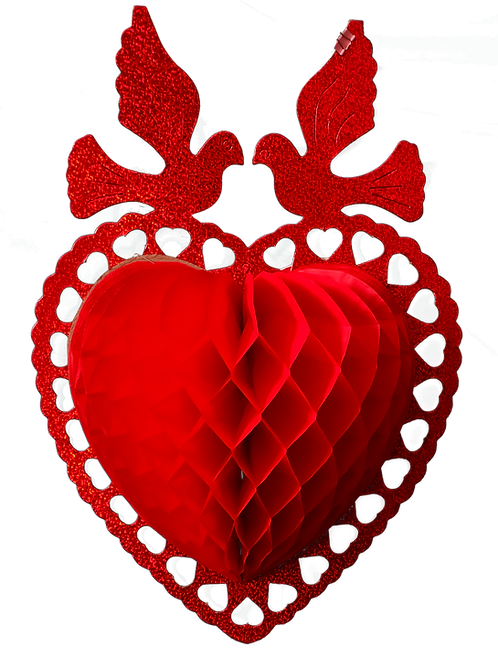 Corazón con palomas rojo