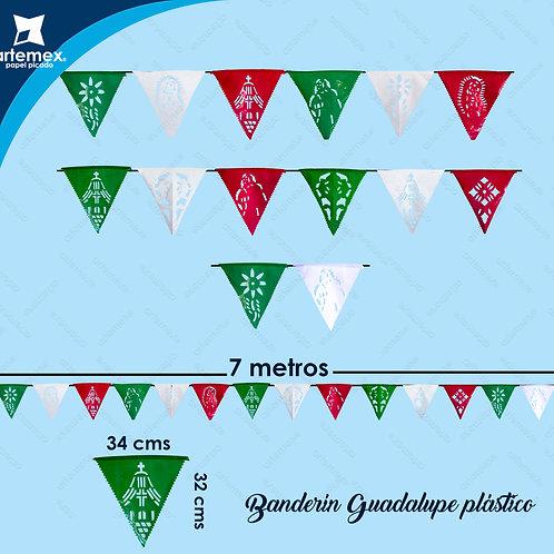 Banderín tricolor Virgen de Guadalupe