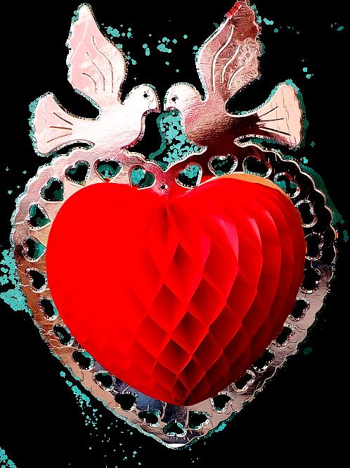 Corazón con palomas plata