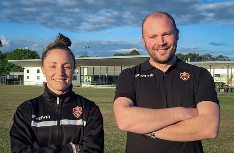 Margot Robinne and Lee Hobbs - Bayside United Coaching Staff