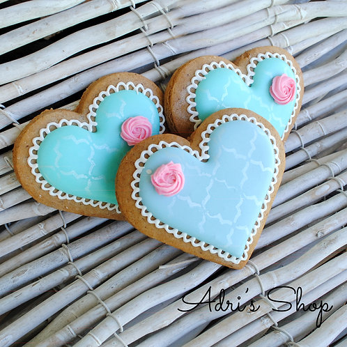 Gingerbread Heart with Rose - Light Blue