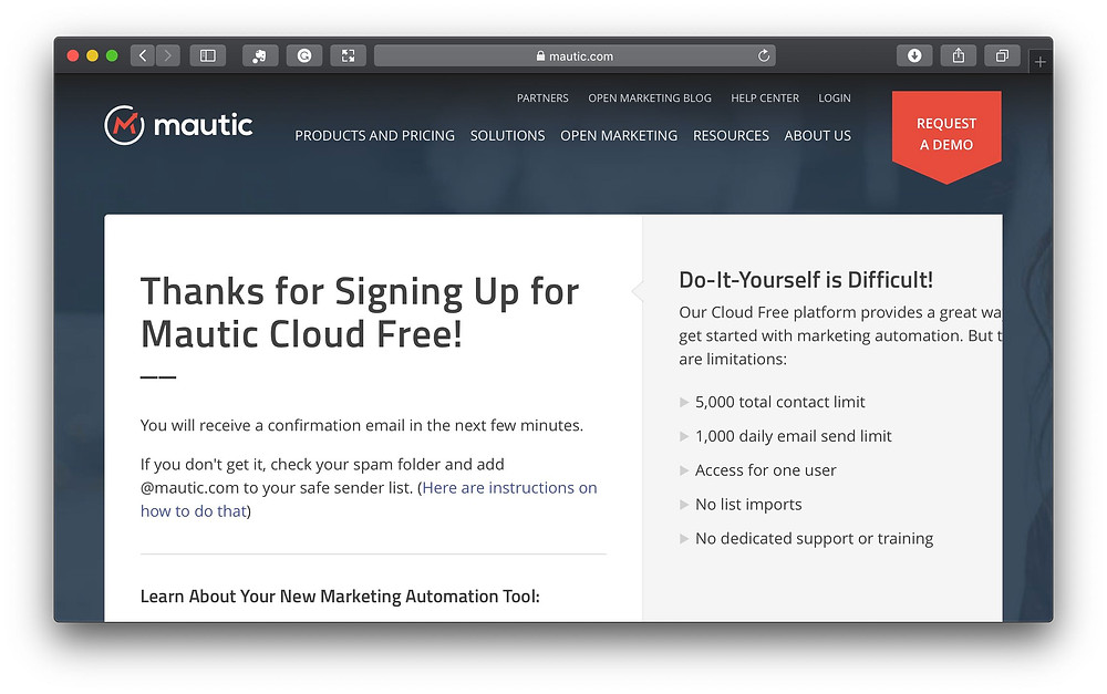 Mauticの登録完了画面です(https://mautic.com/offers/thank-you-free-signup-homepage/)。さあ、始めましょう!