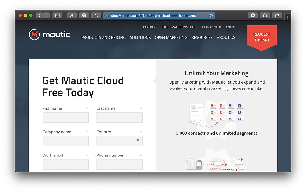 Mauticの登録画面で登録情報を入力します(https://mautic.com/offers/mautic-cloud-free-homepage/)