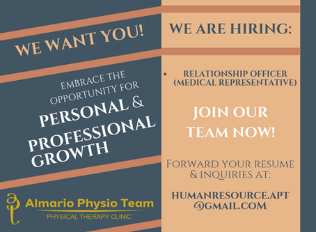 WE ARE HIRING: Medical Representatives, Licensed Physical Therapists & Medical Coordinators!
