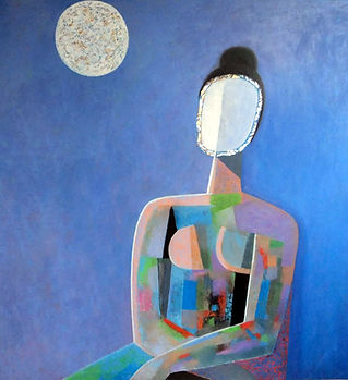 Р. Аспандиярова. Женщина и Луна. 100х100