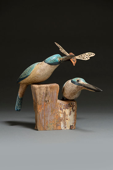 SACRED KINGFISHERS WITH GIANT CICADA