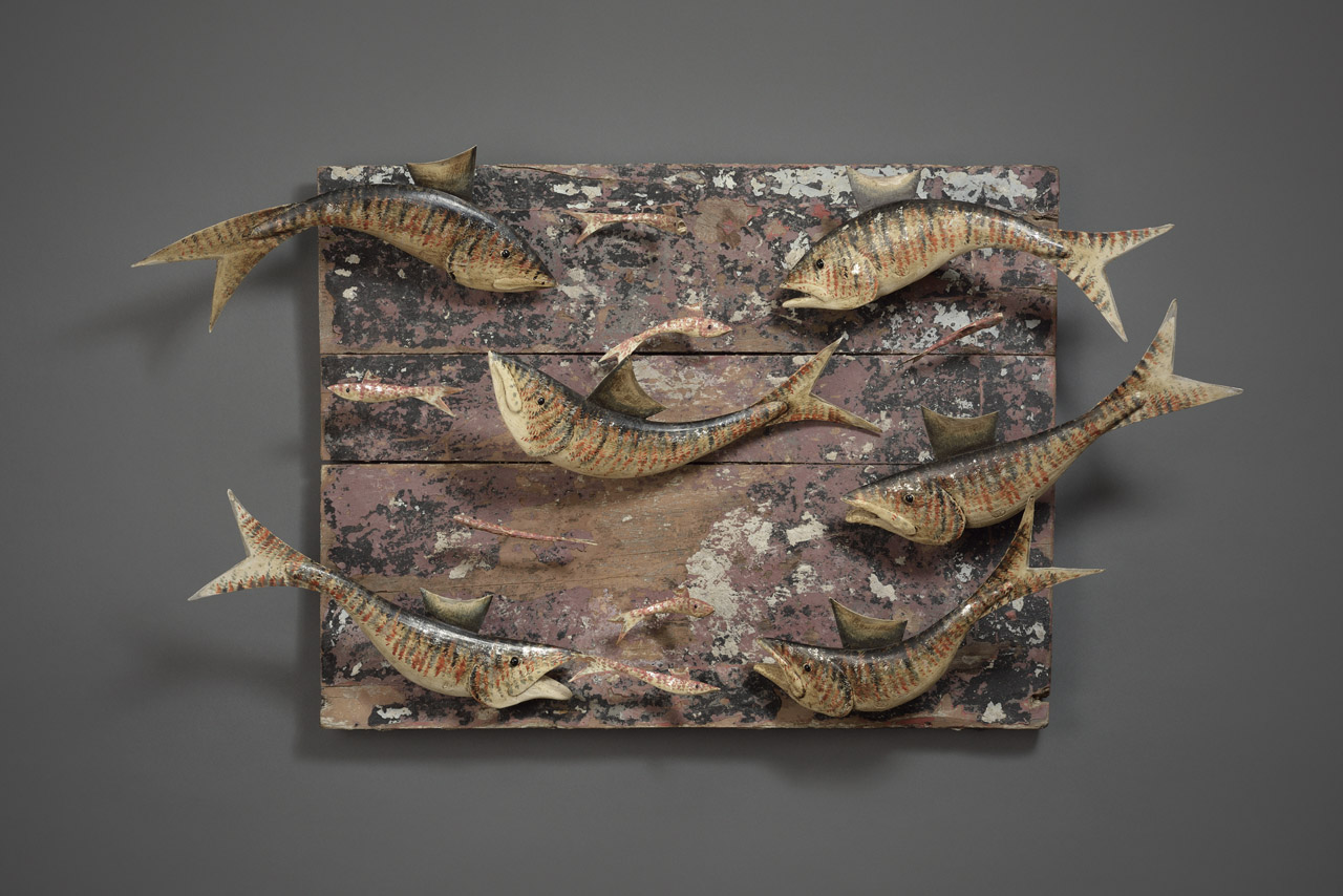 SIX FISH ON DRIFTWOOD PANEL SOLD