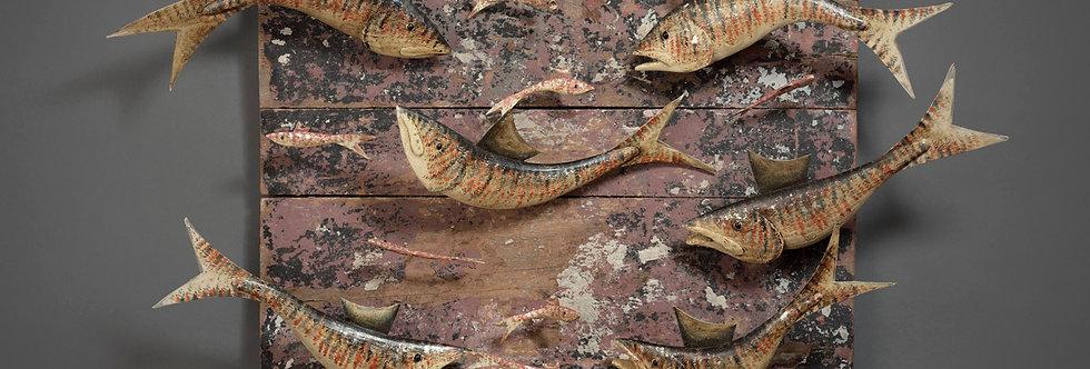 SIX FISH ON DRIFTWOOD PANEL