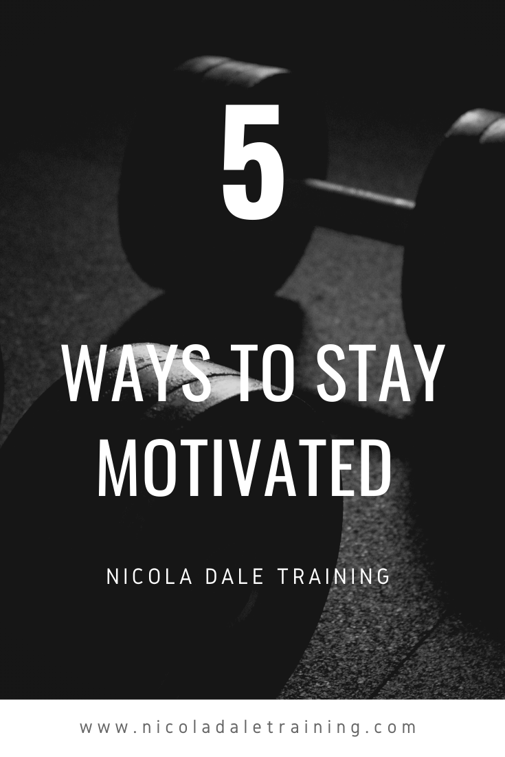 Pair of Dumbbells. Title 5 Ways to Srat Motivated