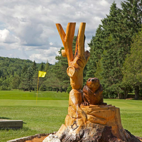 Beaver carving overlooking the 3rd green