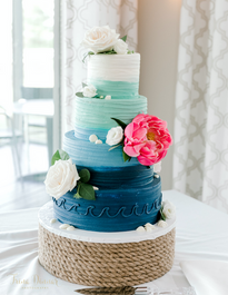 Soft Blues Wedding Cake