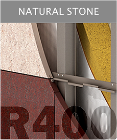 Ronson 400, natural stone suspended ventilated facade system