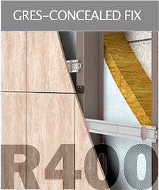 Ronson 400, concealed fastening gres porcelain tiles suspended ventilated facade system