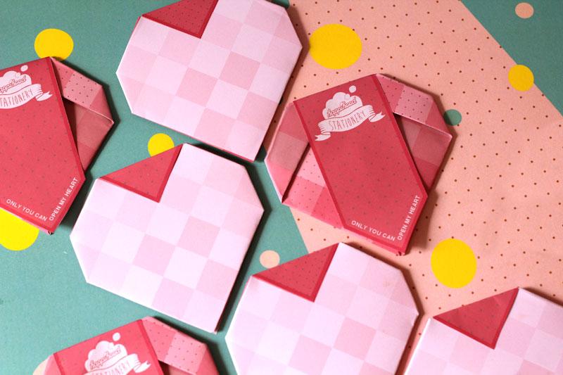 postcard folded into heart shape