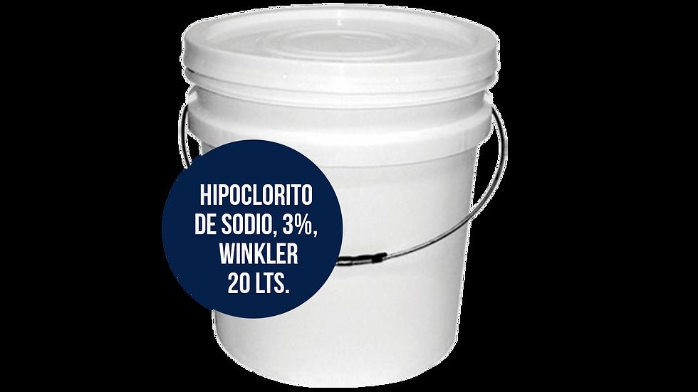 HIPOCLORITO DE SODIO AL 3%, WINKLER, 20 Lts