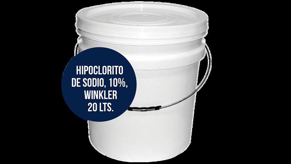 HIPOCLORITO DE SODIO AL 10%, WINKLER,20Lts