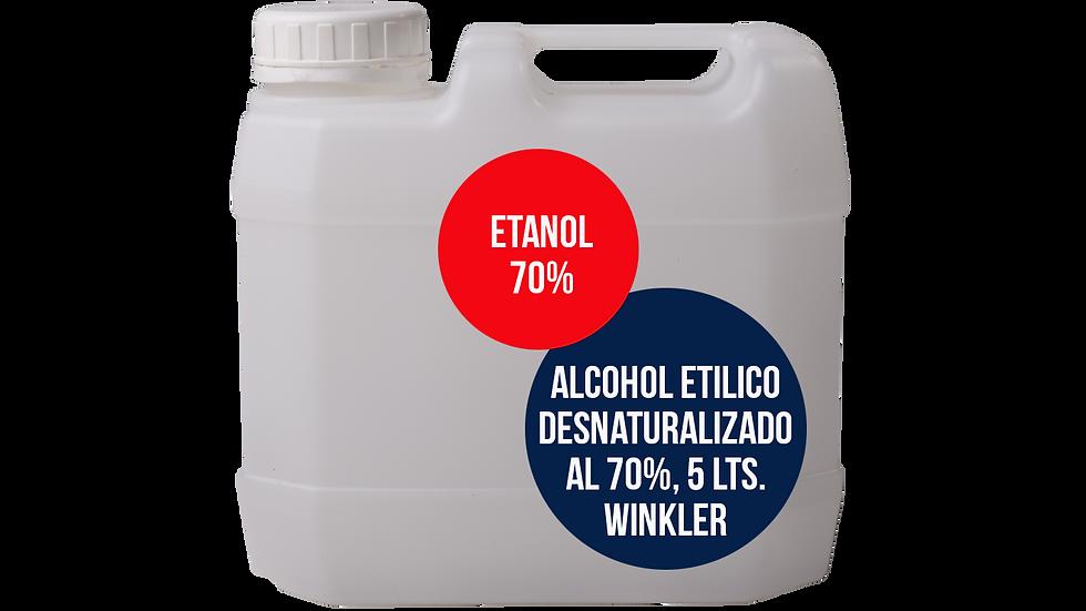 ALCOHOL ETILICO DESNATURALIZADO AL 70%, WINKLER, 5 LTS