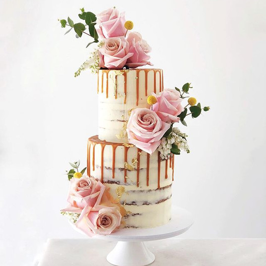 This Caramel drip Wedding Cake is one of