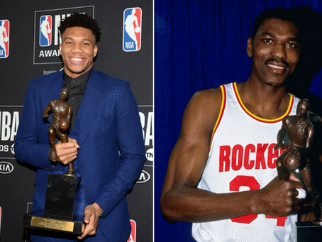 How do Giannis' Statistics Compare to Hakeem Olajuwon's?