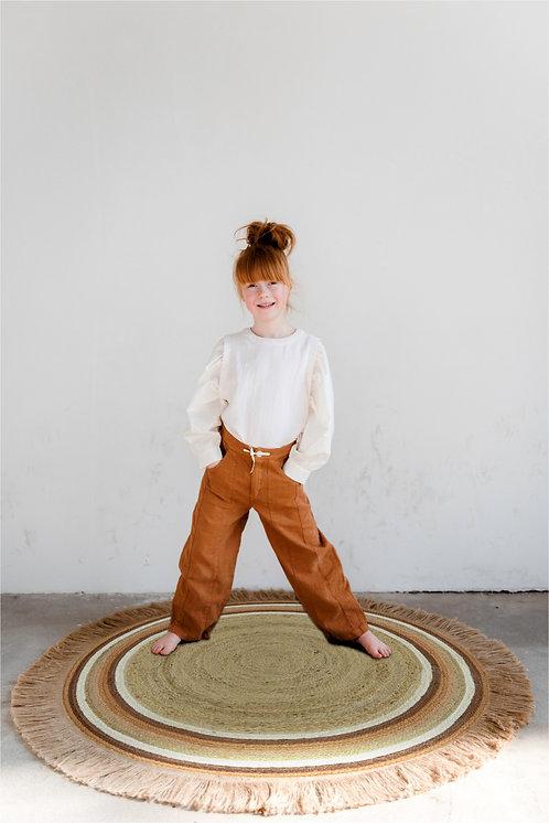 שטיח יוטה עגול - בשילוב צבע חמרה