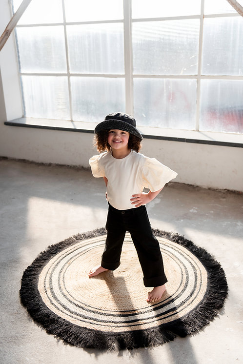 שטיח יוטה עגול - בשילוב צבע שחור