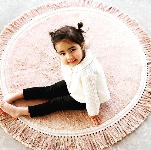שטיח עגול בצבע ורוד בהיר
