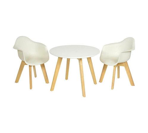 שולחן ילדים ושני כסאות - לבן