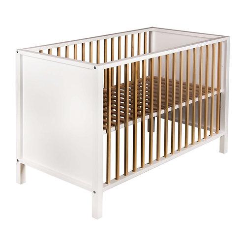 NORDIC מיטת תינוק לבנה בשילוב עץ